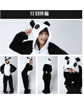 Panda Flano Flannel Rompers  Hoodies Man...