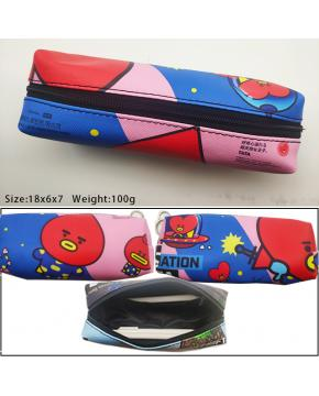 AK-002 K-POP BTS BT21 TATA Pen Bag Storage Bag Stationery Bag 100x6x7cm 100g